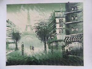 100% Handmade Landscape Oil Painting On Canvas Wall Deco Art Work Eiffel Tower
