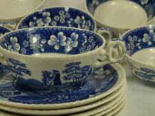 6x Spode Tower c.1814 England Suppentassen mit Untertasse