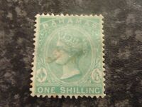 BAHAMAS POSTAGE STAMP SG44A ONE SHILLING GREEN FINE (FISCAL) USED
