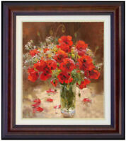 """Hand-painted Original Oil Painting art Impressionism red flower on canvas 20x24"""""""