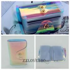 Designer Clear Rainbow Hologram Transparent Id Credit Card Storage Wallet Holder