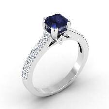 0.71 Ct Real Blue Sapphire Diamond Wedding Ring 14K White Gold SI1 Size N #011