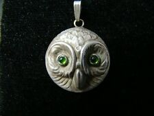 Sterling Silver ADORABLE Owl pendant with genuine cabochon tourmaline eyes