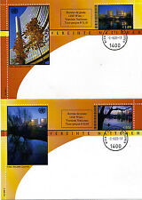 UNITED NATIONS 2003 SCENIC PREPAID WITH SURCHARGE 2 FIRST DAY COVERS GENEVA SHS