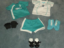 American Girl Doll 2 in 1 Soccer Outfit Home Away Jersey Cleats Guards+BOX