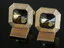 Vtg 70s Cufflinks  Wrap Around Gold Tone Amber Stone Jeweled Crystal