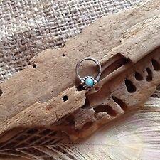 Sterling Silver & Opal Flower Septum Ring 10x13mm Pierced Nose 1mm 18ga Gypsy UK