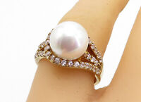 925 Sterling Silver - Pearl & Topaz Solitaire With Accents Ring Sz 7 - RG4627