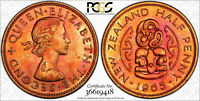 1965 NEW ZEALAND 1/2 HALF PENNY PCGS MS64 ONLY 2 GRADED HIGHER TONED COLOR (DR)