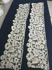 Large pieces of stunning handmade victorian Brussels bobbin precious lace