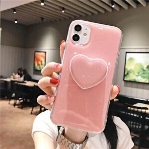 COVER per iPhone 12 11 Pro Max Mini XS XR 8 CUSTODIA TPU SLIM Glitter Cuore Love