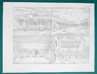ARCHITECTURE India Rock Temples at Ellora - 1828 Antique Print