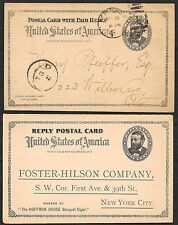 United States covers 1892 private Pc used and Reply Card not used
