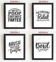 Bathroom Wall Art | Bathroom Prints | Bathroom Pictures | Funny| Toilet Word Art