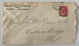 1903 2c Amherst Boot & Shoe Co ADV Nova Scotia to Wallace Bridge NS