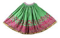 Vintage Main Brodé Banjara Jupe Green-Pink Indien Femme Mode Patineuse