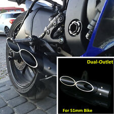 1x Bike Exhaust Pipe Dual-outlet Tail Pipe For Motorcycle Exhaust System 38-51mm