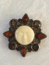 Sajen Sterling Silver Gemstones Artisian Handcrafted Goddess Brooch Pendant