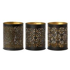 Teelichthalter Set 3 tlg. Metall Ø 8 cm Schwarz Goldfarben / Windlicht