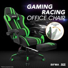 PU Leather Ergonomic Gaming Racing Office Computer Chair with Footrest GR & BK