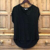 Daniel Rainn Womens Size M Black Short Sleeve Top Blouse