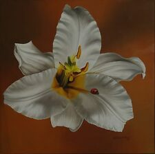 "Cuban Artist Antonio Villamil, Oil on Linen painting ""White Lilac"" Series 2004"