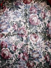 """""LARGE BURGUNDY CABBAGE ROSE DESIGN ON IVORY BACK"""" - HOME DECOR FABRIC PIECE"