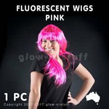 1 X FLUORESCENT WIG PINK UV REACTIVE STRAIGHT GLOW PARTY DISCO NEON FLURO