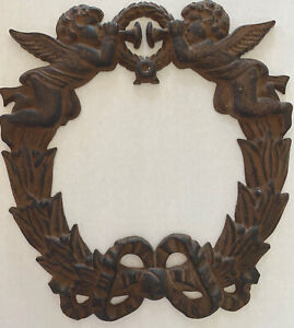 Rustic Decor CAST IRON WREATH WITH CHERUBS BLOWING TRUMPETS