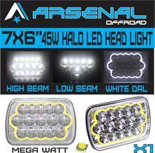 "7x6"" HALO LED Headlight White DRL For 86-95 Jeep Wrangler YJ 84-01 Cherokee XJ"