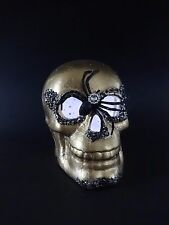 "NEW LARGE Gold & Glitter Spider Skull Flashing Light 6"" x 8"" x 5"""