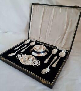 Antique sterling silver tea spoons & strainer. Birmingham 1941 . By Lanson Ltd