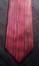 ARROW Men 100% Silk Necktie Designer Classic STRIPED Red Black EUC