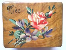 Boite à bijoux 1900, capitonnée, olivier peint de Violettes et de Roses, NICE