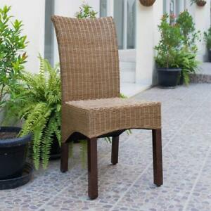 Campbell Salak Brown Rattan Wicker Stained Finish Dining Chair