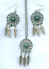 SET Halskette + Ohrhänger Dreamcatcher Necklace Earring Traumfänger Indianer