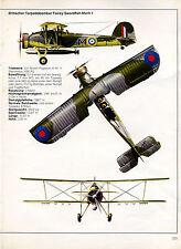 Britischer Torpedobomber Fairey Swordfish Mark I -- Poster-Plakat - Farbe-