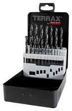 Terrax by RUKO 19pcs. HSS-R Twist Drill Bits Set 1-10.0mm in increments of 0.5mm