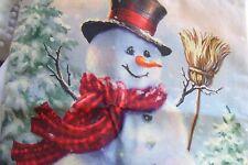 "NEW!Christmas,Winter,Snowman,Snowflakes,w.Broom Cover.17"" square.w.Zipper.Linen"