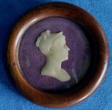 Beautiful Antique Hand Carved Wax Bust Portrait Miniature Silhouette Convex Glas