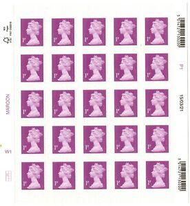 2021 GB 1p MACHIN Definitive full counter sheet of 25 M21L 15/03/21