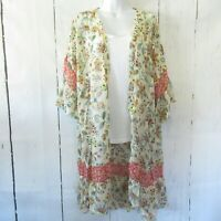 New Gigio By Umgee Kimono L Large Cream Floral Ruffle Prairie Boho Peasant