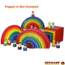 Regenbogen Holzspielzeug Set Holz Stapel Bausteine Spielzeug Kinder Baby  ~