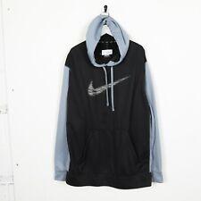 Vintage NIKE Therma-Fit Big Swoosh Logo Hoodie Sweatshirt Light Blue Black 2XL