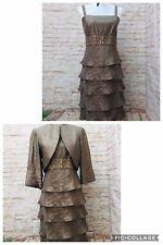 R&M Collection evening formal dress jacket 12P Shimmer Green Bejeweled Waist