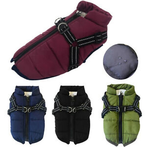 Pet Clothes Padded Dog Vest Jacket Warm Waterproof Winter Quilted Jacket S-XL