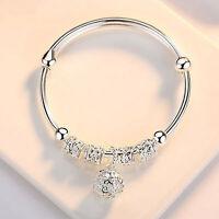 Fashion Women Jewelry 925 Silver Plated Cuff Bracelet Charm Bangle Gifts Pretty