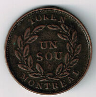 MONTREAL AGRICULTURE & COMMERCE BAS CANADA UN SOU TWENTY CHERRY LEAVE NICE GRADE