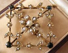 ANTIQUE VICTORIAN SAPPHIRE & SEED PEARL BROOCH PIN or PENDANT Sapphire tcw = 1ct