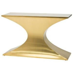 "47.3"" L Console Table Monolithic Tapered Brushed Stainless Steel Pedestal Base"